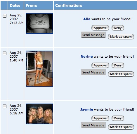 MySpace Spam