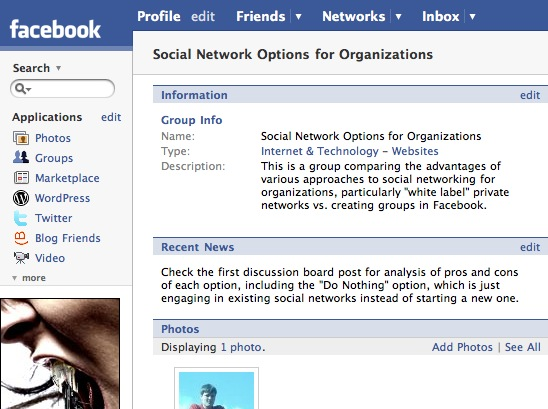 Social Network Options for Organizations